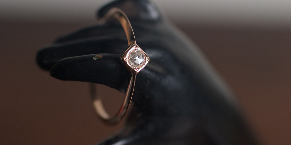 0.3ct Rose Cut Diamond 18kRG