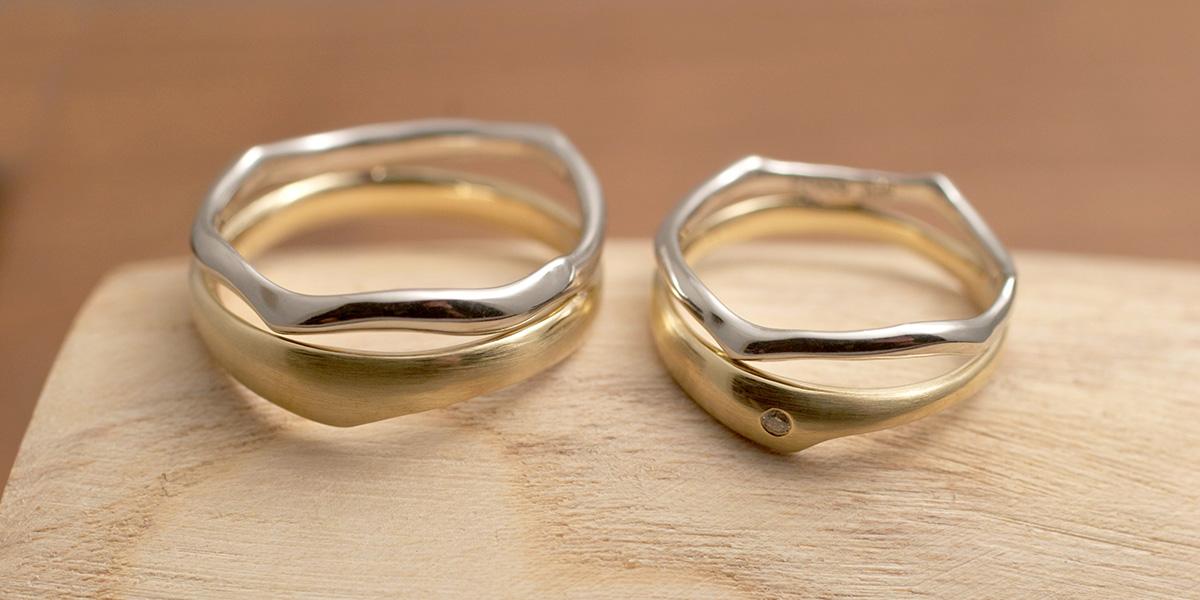 Pt + K18YG Two Toned Rings