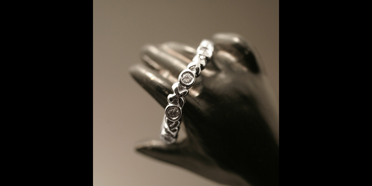 A ring made to stack with the engagement ring